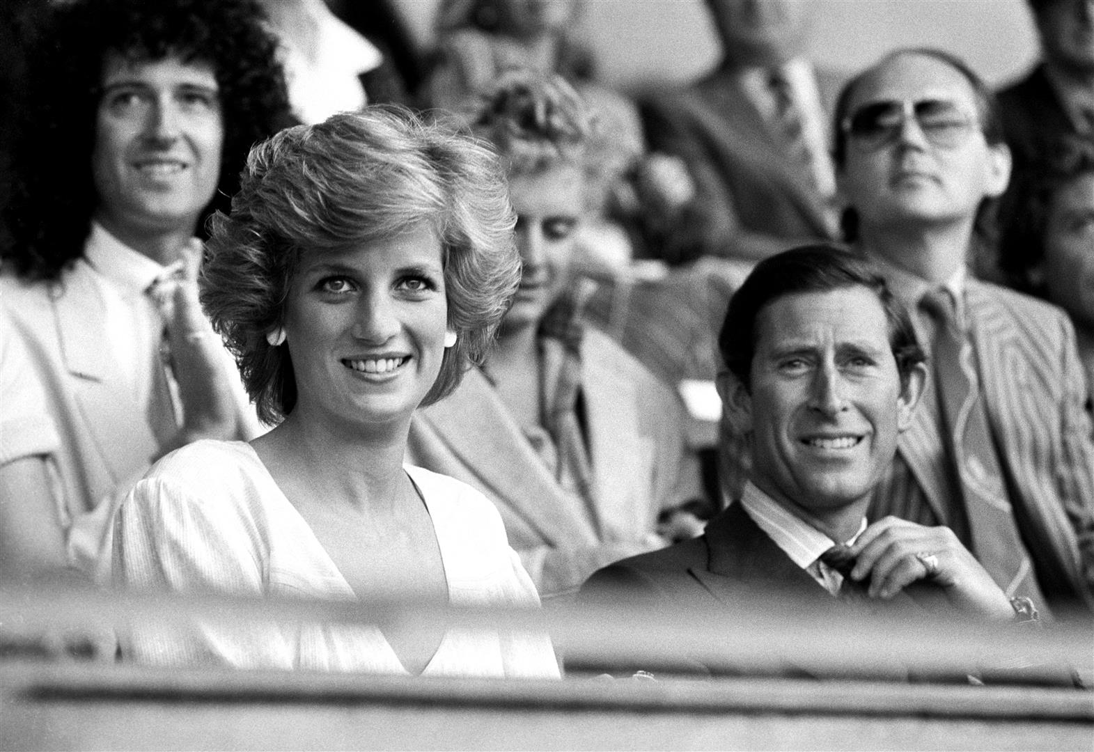 The Prince and Princess of Wales in the Royal Box after opening the Live Aid concert.